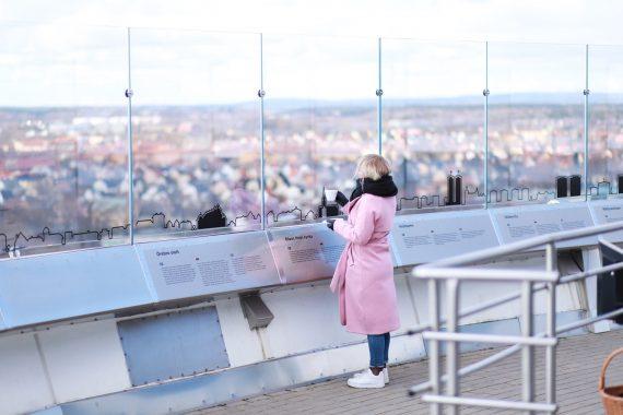 En tjej i rosa kappa och utsikt från Svampens skybar